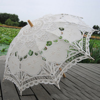 "Free shipping Romantic 32"" Fashion Embroidered Lace Parasol Vintage Sun Umbrella Wedding Bridal Bride Birthday Party Decoration"