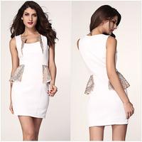 New2014 Sexy Fashion Women Ladys Girls Low-cut Sleeveless Package hip Soft Cozy Dress r660