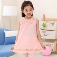 Kids summer 2014 girls princess dress sleeveless chiffon lace dress  Height 110 ~ 160cm