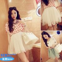 2014 summer women's vintage princess sweet fresh organza bust skirt short skirt