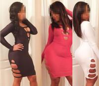 2014 New Fashion Sexy Bodycon Dress Cut-Out Long Sleeves Party / club dress Black/White/Pink M L XL B4512