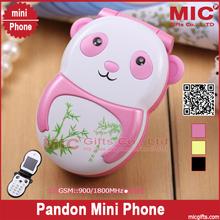 Flip new arrival unlocked small cartoon Dual SIM card women kids girls lady cute mini cell mobile phone panda light P187