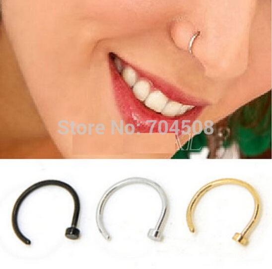 FD737 Titanium Silver Black Gold Nose Hoop Ring Earring Body Piercing New 2pcs