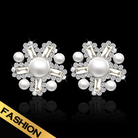 Special Pearl Statement Earrings Free Shipping Alloy Wedding Jewel For Women EH14A070211