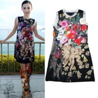 2014 New Arrival Ladies' Celebrity Style Women Summer Sleeveless loose size Casual mini Printed Dress Stock ready drop shipping