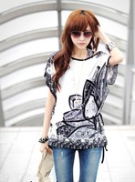 GREY flower 2014 Summer Casual Plus size Bohemia Styles Womens Tops Short Sleeve Tees Batwing Sleeve Women Printed t shirt