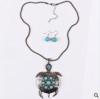 YXSP685     2014 new fashion    Pierced Turquoise Tortoise years Shou    necklace for women