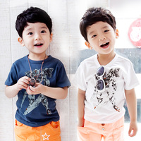 wholesale New Arrival 2014 Baby  Korean Style Fashion Short Sleeve Robot Design T Shirt Children Casual Cheap Summer Tops