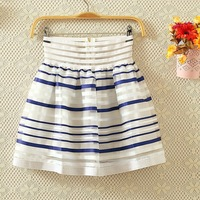 Summer organza dream elastic waist stripe short skirt bust skirt female puff skirt