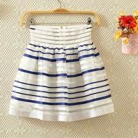 Summer organza dream elastic waist stripe short skirt bust skirt female puff skirt