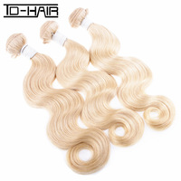 Aliexpress best quality 6A Blonde color 613 Body Wave Brazilian Virgin Human Hair weaves 3pcs lot TD HAIR PRODUCTS
