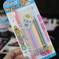 caneta 8 refill & 1 penholder/set handmade diy photo album color gel pen ballpen ball ballpoint water chalk highlighter markers