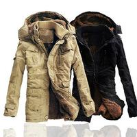 New Mens High Quality 100%  Cotton Thickhen Winter Snow Warm Coat,Hooded Faux Fur Parkas,Black,Khaki,Size M-5XL,AW1302,Free Ship