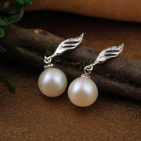 Free Shipping 8-9mm Round Nature Pearl Drop Earring With Zircon Pure 925 Silver Leaf Earring With Real Freshwater Pearl