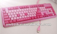 2014 Hot sale!!!Pink color fashionable and practical rhinestone keyboard