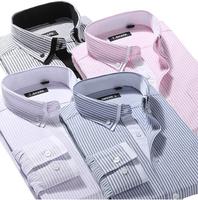 men  Fashion  Casual  slim fit  shirt  long  Sleeve  striped   man  camiseta shirts MTSL001-9    S M L  XL XXL XXXL