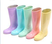 2014 new candy color  england style  slip Tall boots  solid color rubber  water shoes rainboots