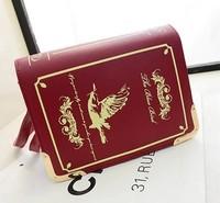 Princess sweet gothic lolita bag Classic vintage magic book British style shoulder bag oblique cross bag handbag Burgundy black