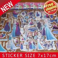 2014 Hot Sale Free Shipping Mix 50kinds 1000 Sheets Puffy Frozen Sticker(7.5*21cm) Sticker /children Fashion Decoration Stickers