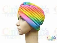 Free shipping rainbow color arabic Turban, Muslim hat, Dastar, women's turban