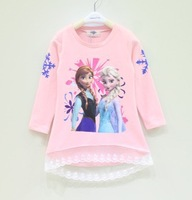 Frozen Children T Shirt 2014 Fall New Arrival Cartoon Printing Baby Girl Frozen Tshirts Kids Topwear Child Clothing GX600