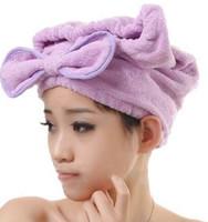 New arrive shower cap lovely bowknot dry hair cap Superfine fiber dry hair cap  princess bath cap