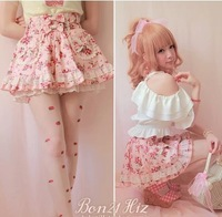 Princess sweet lolita skirt BOBON21 exclusive original lovley strawberry lace bow summer cotton skirts under pants skirt B1015