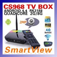 1pc CS968 Android 4.4.2 Kitkat Quad CoreTV Box XBMC Preinstalled WebCam2M Mic RK3188 Quad Core 2G/8G Mic WiFi Free Shipping