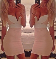 New arriving 2014 hot selling Summer ladies wrapped chest bump color sexy dress  with cheapest price free shipping