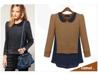 Fashion Vivi Knitwear Chiffon Patchwork Women Tops Western Autumn New Hemp Long Sleeve Women T-shirt