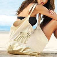 2014 Brand Canvas Bag Travel Shopping Environmental bags Gold Woman Summer Beach bags Leisure Handbag Lady Shoulder Bag