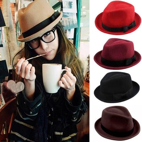2015 Fashion New Men Ladies Wool Felt Panama Trilby Fedora Jazz Dance Bowler Hat Cap 5 Color(China (Mainland))