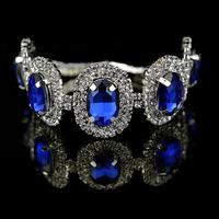 2014 new fashion glass crystal bracelets bangles jewelry brand pulseiras femininas rhinestone blue bracelet alloy aliexpress