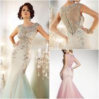 2014 New Arrival Luxury Woman Long Prom Dress Cap Sleeve Beaded Crystal Rhinestone  Floor Length Mermaid Evening Party Dress
