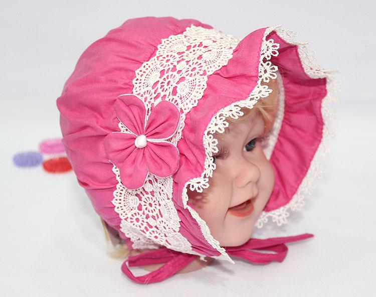 Hot style pink lace bonnet for girls Vintage fashion sun caps hats easter handcraft bonnet baby shower gift christening bonnet(China (Mainland))