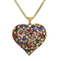 2014 New Arrival Free Shipping 51*46mm Heart-Shaped Metal With Artificial Diamond Necklace(10Pcs)(Gold)10990#