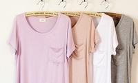 fashion multicolor modal cotton loose low-high pocket t-shirt