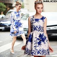 2014 women's new arrival blue and white porcelain beauty jacquard sheds sleeveless one-piece dress