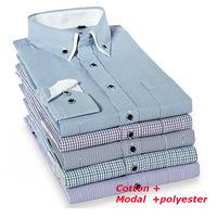 men  Fashion  Casual  slim fit  shirt  long  Sleeve  striped   plaid  man  camiseta shirts SLCX001-08   XS S M L  XL XXL XXXL