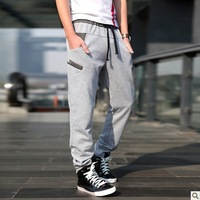 Spring Summer Fashion Leisure Sports Slim fit Cotton Oblique cross Pocket Splice Pure Straight Length Pants Men's Clothing 708N