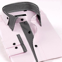 2014 business Mens Slim fit Unique neckline stylish Dress long Sleeve Shirts Mens dress shirts 5 colors ,size: M-XXXL
