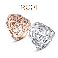 ROXI Classic Genuine Summer Gift Austrian Platinum Gold Plated Happiness Rose Ring Fashion Jewelry