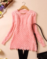 2014 autumn women's mohair sweater pullover basic shirt one-piece dress long-sleeve V-neck fish scale decorative pattern