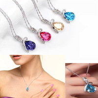 Lot 2Pcs Heart Love  Crystal Rhinestone Romantic Fashion Women Chain Pendant Necklace Gift Box Packing New
