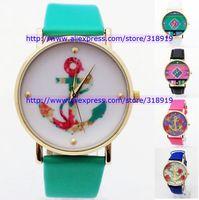 110pcs/lot New hot  fashion Brand Geneva women laides rose flower watches anchor bracelet dress men quartz leather watches