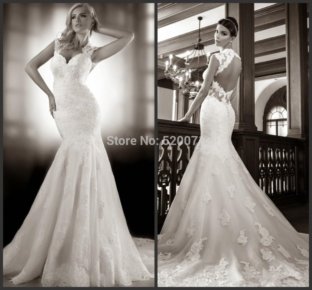 Sirène sexy col v manches bouchon cour train backless blanche ivoire, designer robes de mariée robes de mariée en dentelle