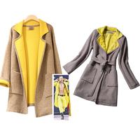 FS-2540 Autumn Winter 2014 High Quality Large Size Women's Outwear Coat Windbreaker Slim Trench Coats For Woman