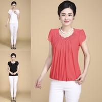 Short sleeve fashion mother clothing quinquagenarian women's summer plus size t-shirt chiffon shirt Big Size L- 5XL