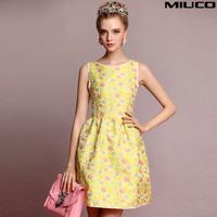 2014 women's flower jacquard fabric fashion a sheds princess puff one-piece dress