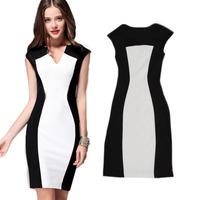 Summer  New Women Dress Brief Patchwork Sliming Sleeveless V Neck Sheath Knee-Length Pencil Dresses